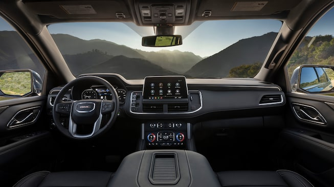 2021 GMC Yukon front interior featuring the dashboard.