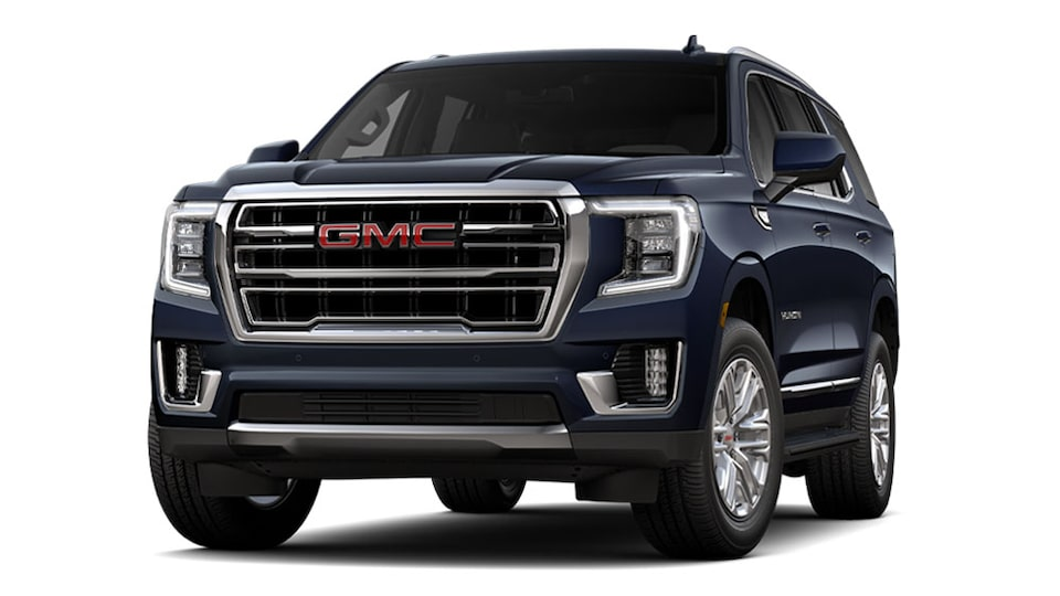 2021 GMC Yukon in Midnight Blue Metallic.