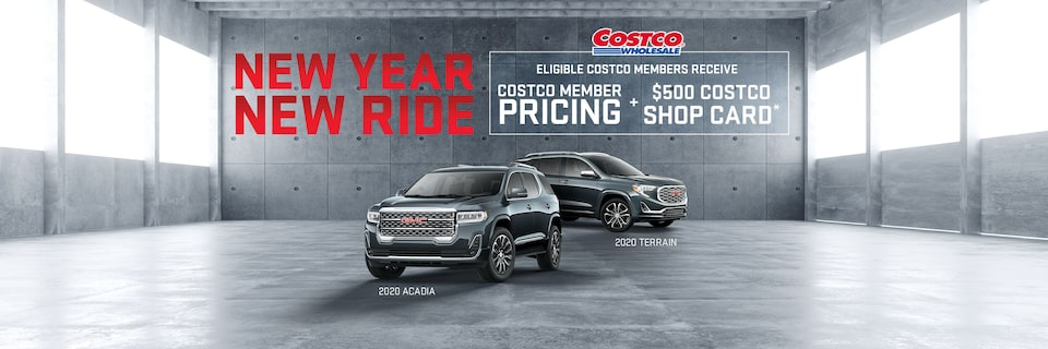 NEW YEAR NEW RIDE [COSTCO LOGO] ELIGIBLE COSTCO MEMBERS RECEIVE  COSTO MEMBER PRICING + $500 COSTCO SHOP CARD*