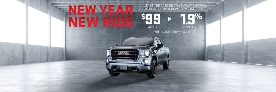 NEW YEAR NEW RIDE LEASE A 2020 SIERRA ELEVATION CREW CAB 4X4 FOR $198 BI-WEEKLY, THAT'S LIKE: $99  WEEKLY @ 1.9% FOR 24 MONTHS (WITH $3,600 DOWN PAYMENT)*