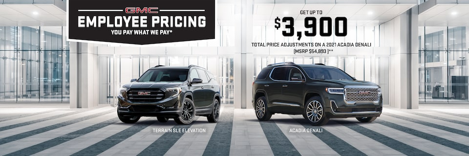 GET UP TO $3,900 TOTAL PRICE ADJUSTMENTS ON A 2021 ACADIA DENALI (MSRP $54,893)**