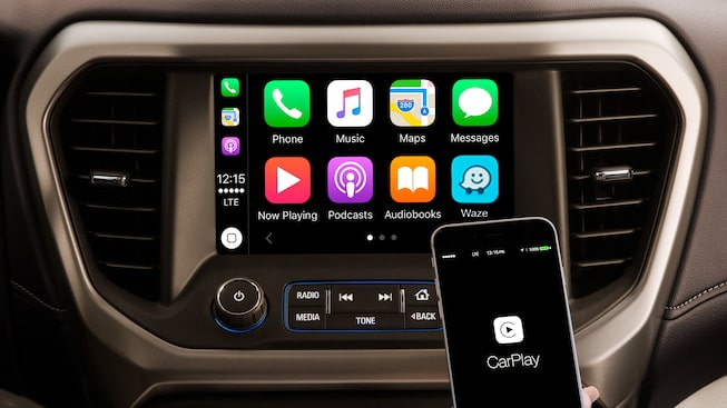 The GMC Acadia Denali features Apple CarPlay compatibility.