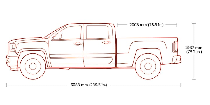 Diagram of the 2019 GMC Sierra 2500 Denali HD in Crew Cab with standard or long box.