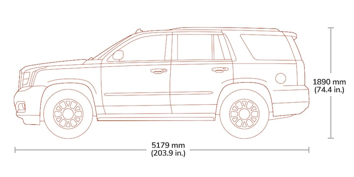 Diagram image showing the height and length of the 2019 GMC Yukon Denali.