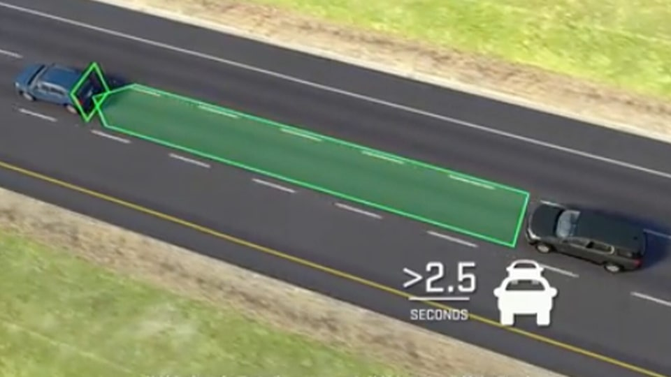 2021 GMC vehicle safety: with available Following Distance Indicator.
