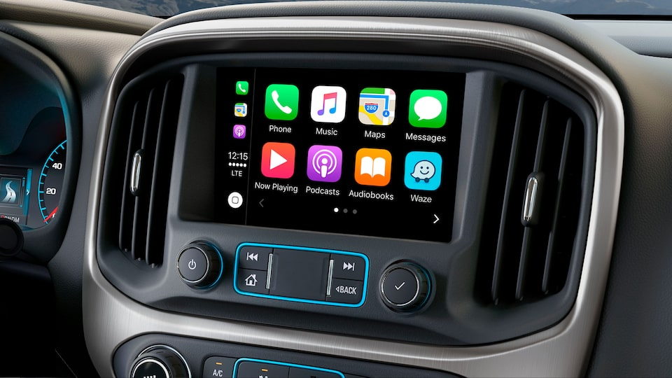 The GMC Canyon All Terrain with Apply CarPlay compatibility.