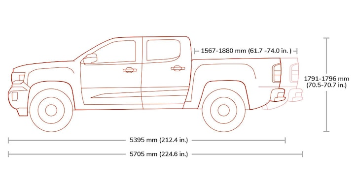 Diagram of the 2019 GMC Canyon Crew Cab pickup truck.