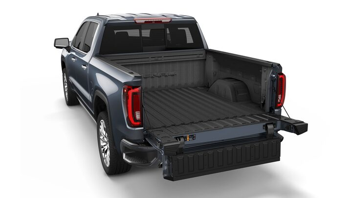 GMC Sierra 1500 with a fully opened tailgate.