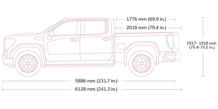 Diagram showing the height and length of the 2019 GMC Sierra 1500 light-duty pickup truck - crew cab.