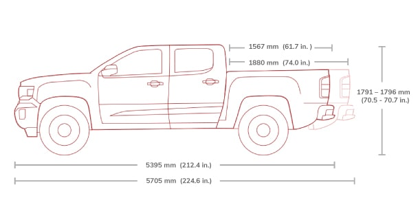 GMC Canyon All Terrain Crew Cab Mid-Size Truck Specs.