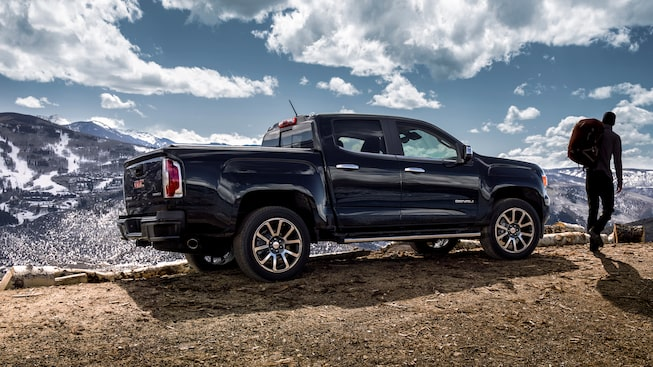 2020 Canyon Denali Luxury Mid-Size Pickup Truck Exterior Side Shot.