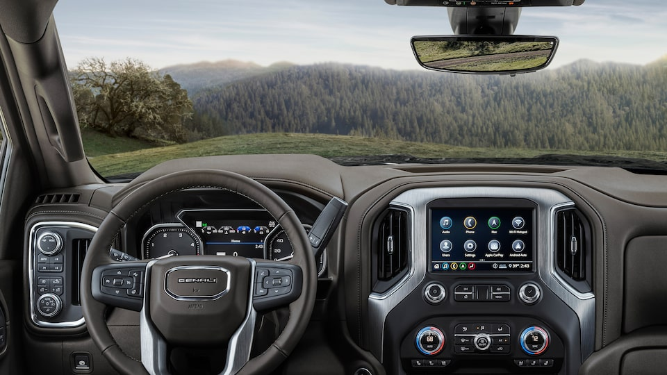 Elevated Driver Seating Of The 2020 Sierra HD Denali.