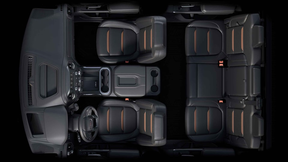 Bird's-eye view of the 2021 Sierra HD interior jet black with kalahari accents seats.