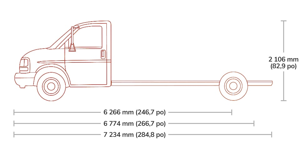 Spec Diagram of 2019  GMC Savana Cutaway 3500.