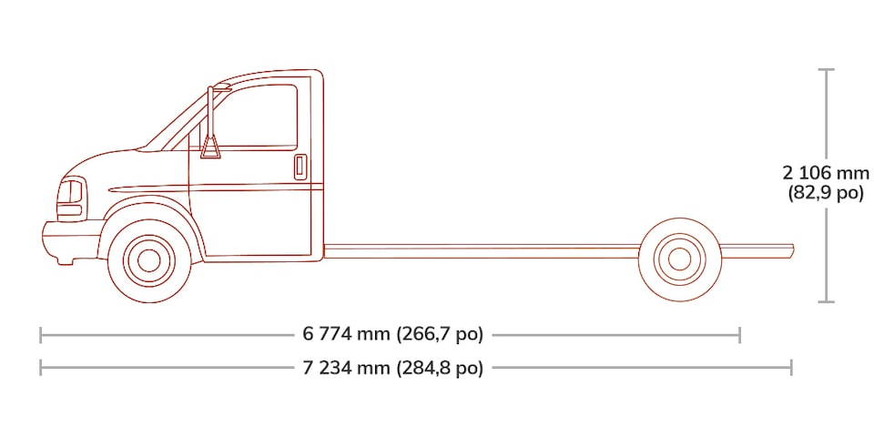 Spec Diagram of 2019  GMC Savana Cutaway 4500.