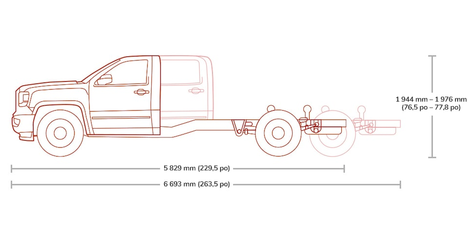 Sierra 3500HD Chassis Cab comes in different length and height configurations.