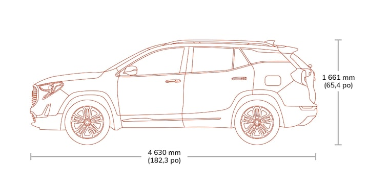 Diagram showing the height and length of the 2019 GMC Terrain small SUV.