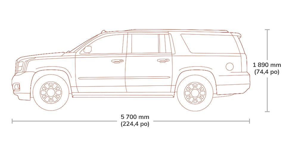 Diagram image showing the height and length of the 2019 GMC Yukon XL Denali.