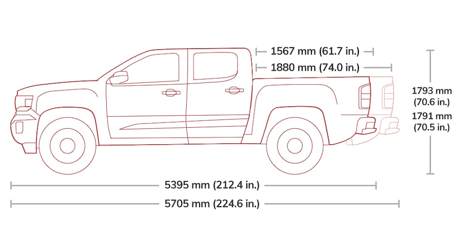 Diagram of the 2019 GMC Canyon All Terrain Crew Cab.