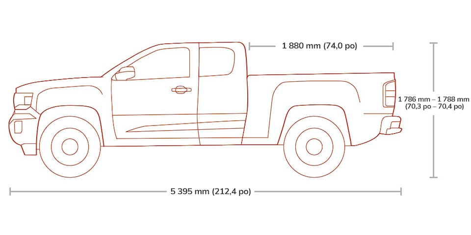 Diagram of the 2019 GMC Canyon Extended pickup truck.