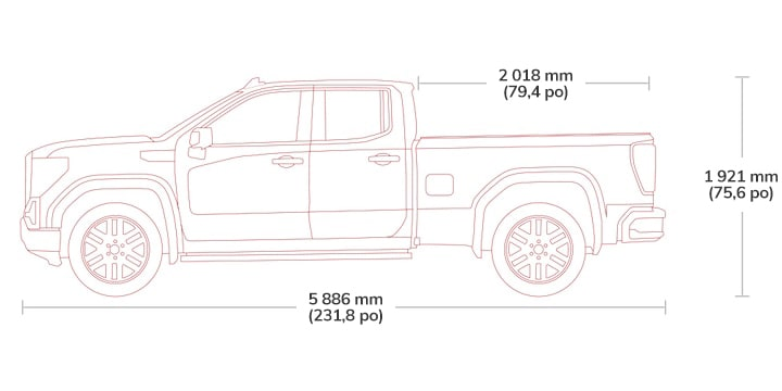 Diagram showing the height and length of the 2019 GMC Sierra 1500 light-duty pickup truck - double cab.